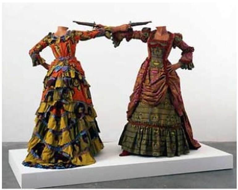 Picture artwork with two mannequins in period costumes in a duel