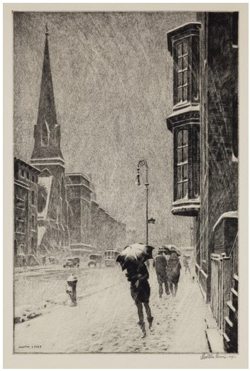 Picture of city street in snow