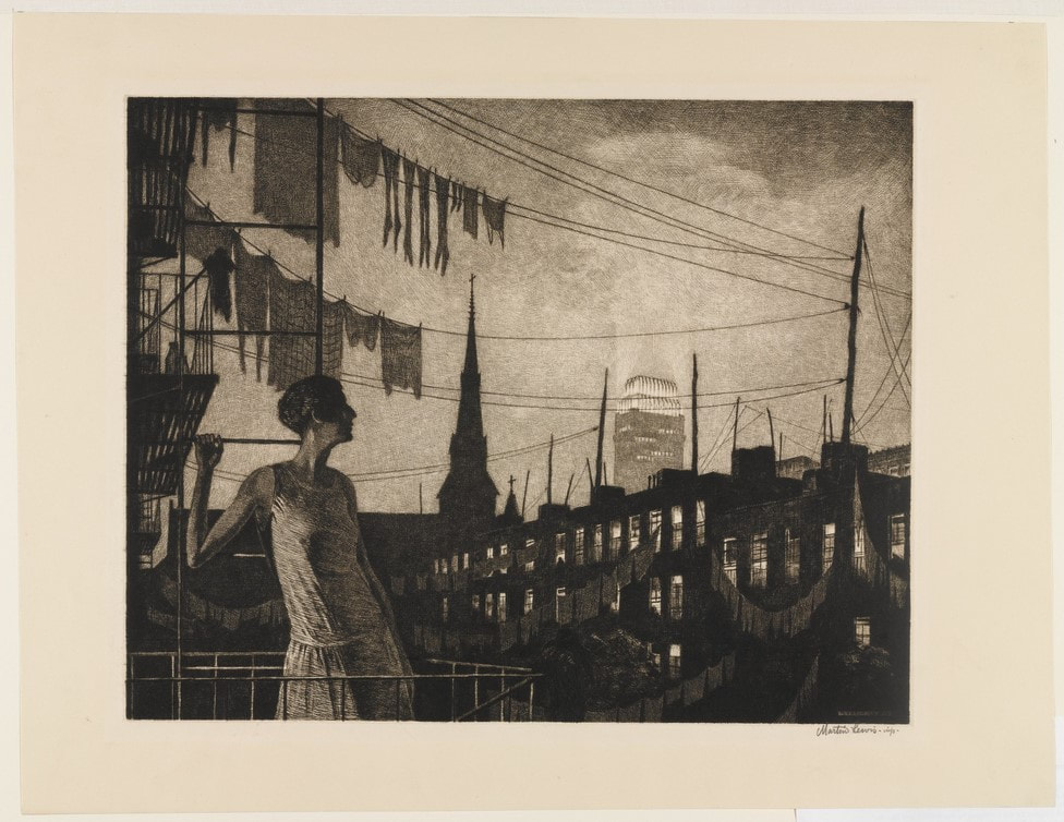 Picture of woman on rooftop at night