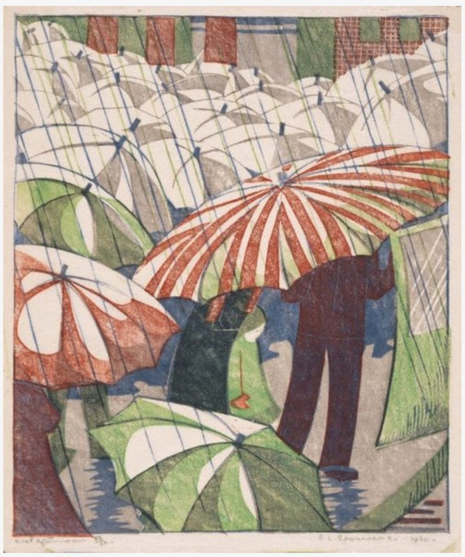 picture of rainy day with umbrellas