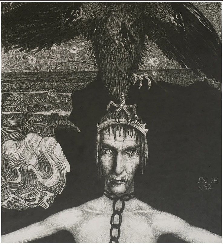 picture of man and crow