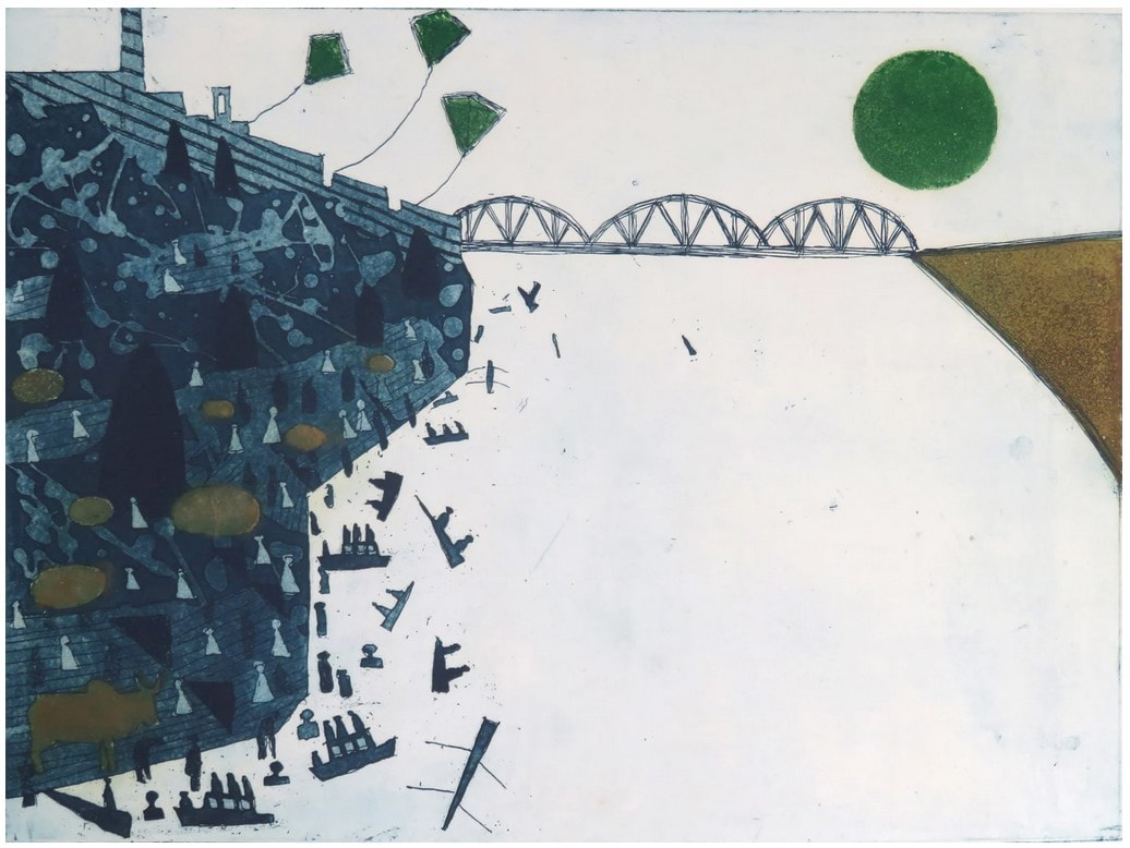 picture of a rive with bridge and kites