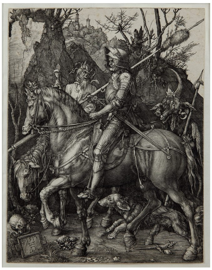 picture of a knight on a horse with devil