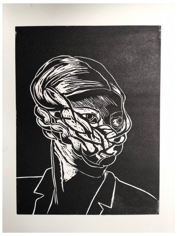 picture of a woman with braids as mask