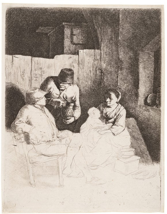 picture of a young couple with baby and man offering drink