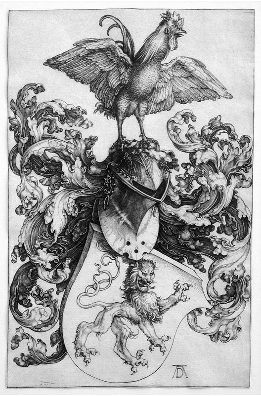 picture of of a coat of arms with rooster