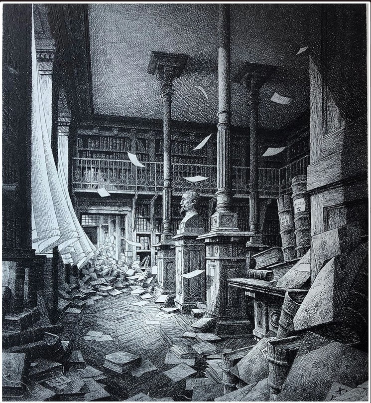 picture of a library in disaray