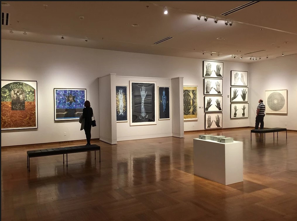 Picture of Damon Davis' portfolio on view at the Mitchell Museum at Cedarhurst, 2016.