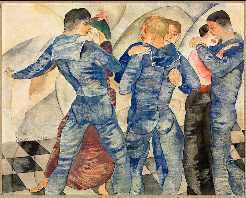 Picture of Charles Demuth's watercolor of gay soldiers dancing.