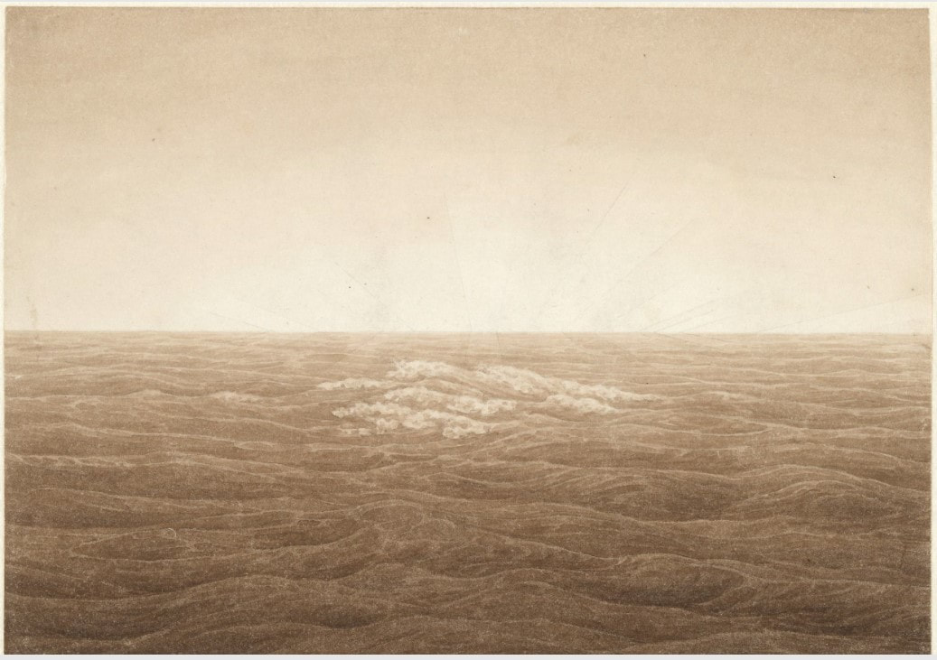 Picture of Caspar David Friedrich's drawing Sea with Rising Sun