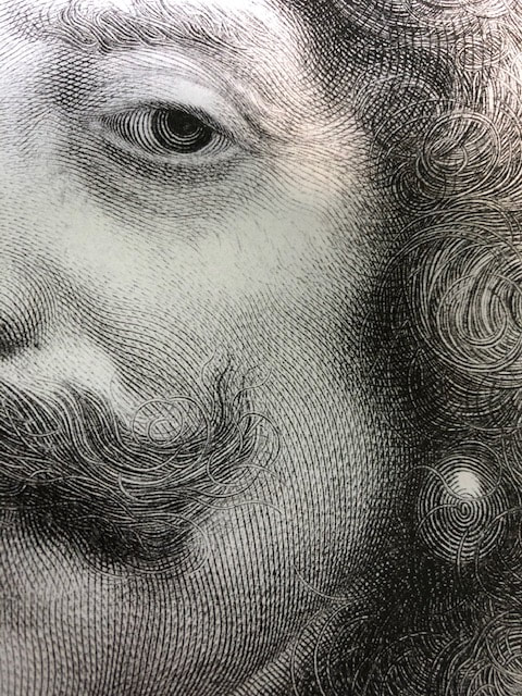 Picture of a detail from Nicolas Mignard's engraved portrait of the Count of Harcourt, 1667