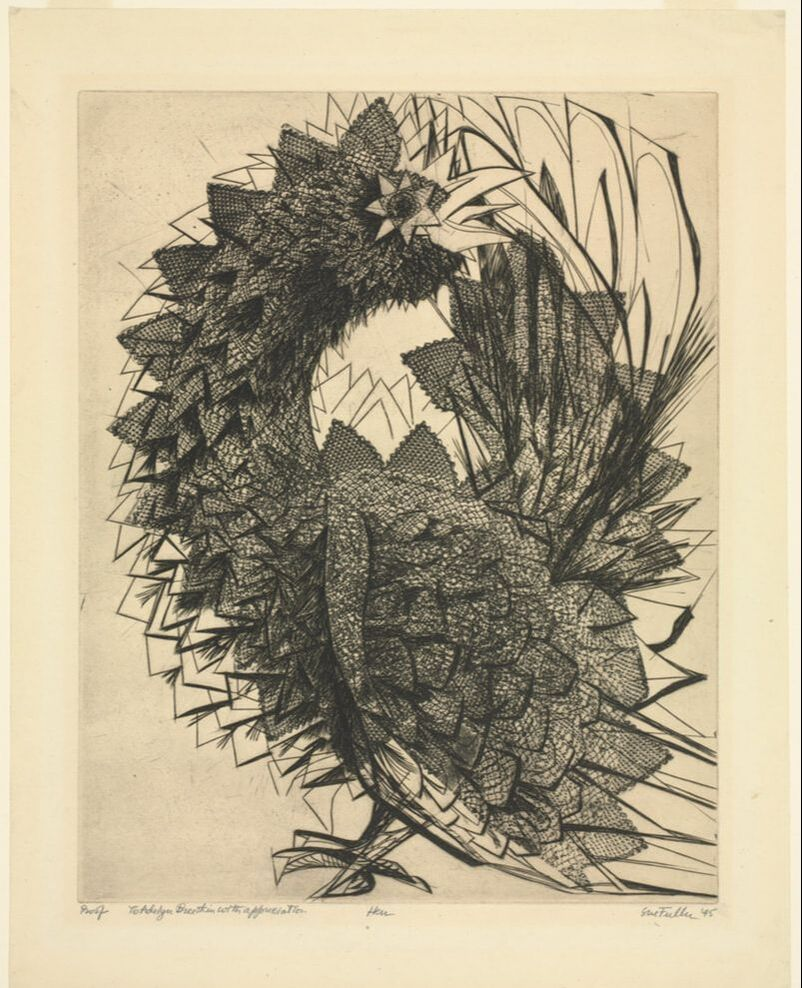 Picture of Sue Fuller, Hen, 1945, softground etching