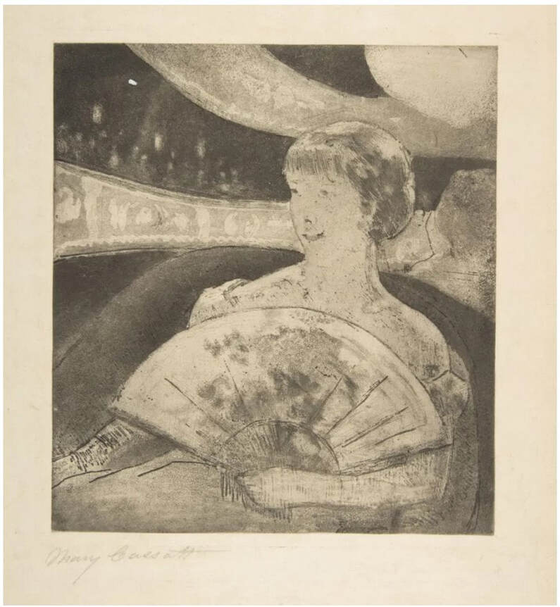 Picture Mary Cassatt print In the Opera Box, collection Metropolitan Museum