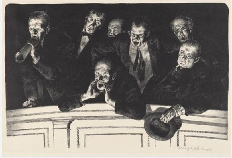 Picture of Joseph Hirsch print, The Hecklers, collection National Gallery