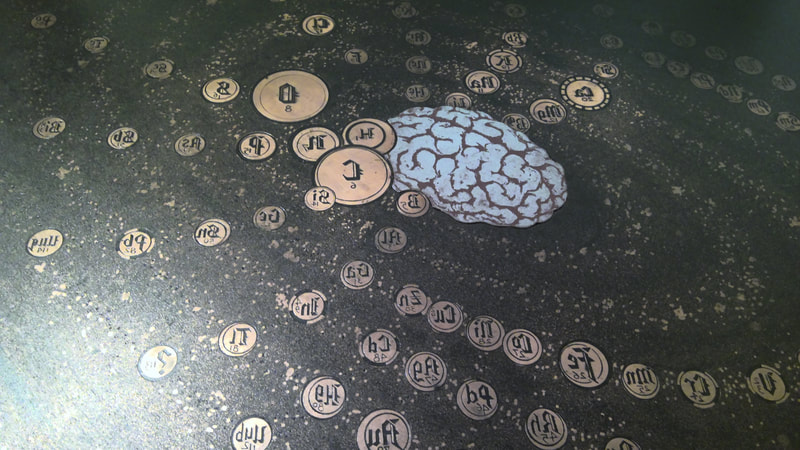 picture of a periodic table and brain